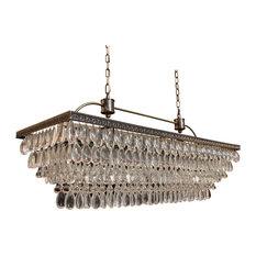 """Weston Rectangular Glass Drop Chandelier, Antique Brass Finish,  40"""""""
