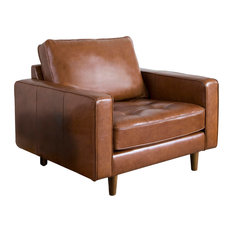 Abbyson Living Natalee Mid-Century Leather Seating, Armchair