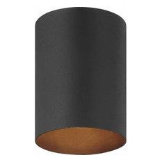 """Volume Lighting V9615 1 Light 5""""W Outdoor Flush Mount Ceiling - Black"""