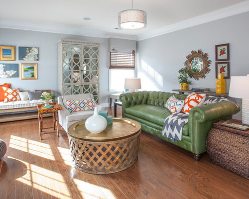 SaveEmail - Green Leather Sofa Houzz