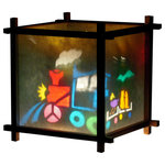 Harmony Lantern - Train Lantern Night Light - Our Harmony Lanterns consist of two main parts: the lamp itself, and an insert which is inserted into the lamp. The two combine to create a moving light show on the paper shade of the lamp.  If a little finger poked a hole in rice paper, simply remove the torn paper and place that side close to the wall.  You will then see the image dancing on the wall as well.