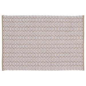 Handwoven Taupe Rombini Cotton Rug, 60x90 Cm