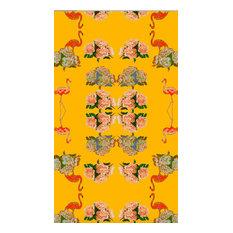 Flamingo Peonies Velvet Fabric, Ochre