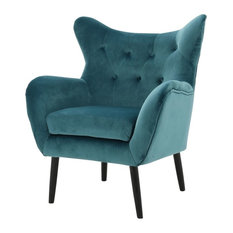GDF Studio Kotop Light Gray New Velvet Wingback Arm Chair, Teal