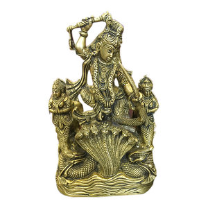 Mogulinterior - Krishna Brass Statue Lord Krishn Dancing on Serpent Kaliya- The Dance of Victory - Decorative Objects And Figurines
