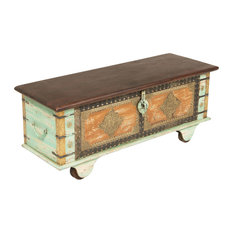 Steve Silver Alma Storage Trunk, Multi Colored Distressed Finish