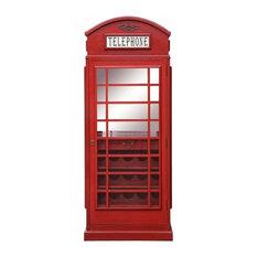 Retro London Telephone Box Design Traditional Drinks Cabinet, Red Finish Wood
