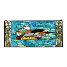 """35""""Wx16""""H Wood Ducks Stained Glass Window"""