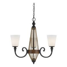 3 Bulb Monticello Chandelier Lamp, White