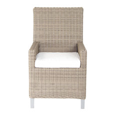 Palisades Dining Armchair With Sunbrella Cushions, Gray With Spa