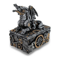Silver Gold Enamel Steampunk Dragon Mini Trinket Box