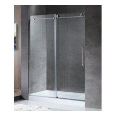 "Madam Series 48"" by 76"" Frameless Sliding Shower Door, Brushed Nickel, Handle"