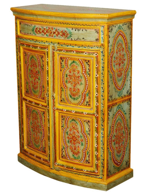 Superieur Sun Garden Hand Painted Mango Wood Showpiece Cabinet   Armoires And  Wardrobes