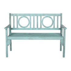 Safavieh Bellagio Outdoor Folding Bench, Coastal Blue