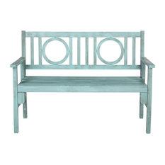 Safavieh Bellagio Outdoor Folding Bench, Coastal Blue