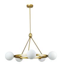 Alicia Modern Globe Wagon Wheel Chandelier, Brass With Milky Glass