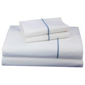 Blue Embroidered Solid Sheet Set, King