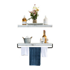True Floating Wall Shelf and Towel Rack, White