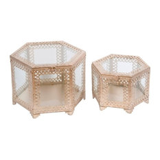 Glass and Metal Octagon Boxes, Champagne, 2-Piece Set