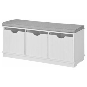 Traditional 3-Drawer Storage Bench with Removable Cushion, White
