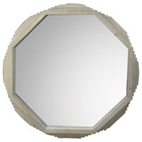 """39"""" Alfio Round Mirror Solid Wood Frame Abstract Unique Natural"""