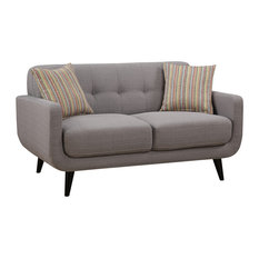 Crystal Upholstered Mid-Century Tufted Loveseat With 2 Accent Pillows, Gray