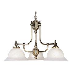 Livex Lighting Chandelier, White Alabaster Glass, Antique Brass