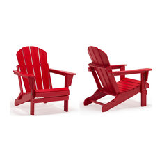 Westin Trends-Outdoor Folding Poly Adirondack Chair (Set of 2), Red