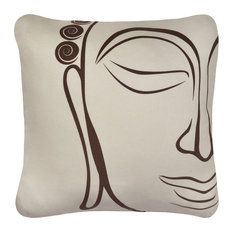 Buddha Organic Cotton Square Throw Pillow Cover, Chocolate/Seagrass