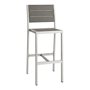 Shore Outdoor Aluminum Armless Bar Stool, Silver Gray