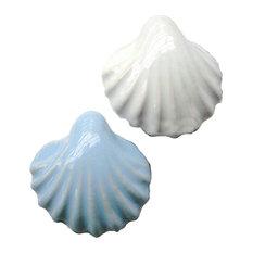 Sea Shell Ceramic Cabinet Knob Drawer Pull Handle, 2 Colors, 2-Piece Set