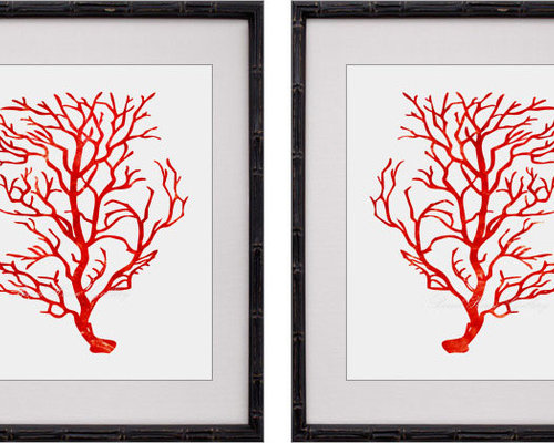 Red Coral Prints, Red Coral Wall Art, Red White Decor, Red Coral