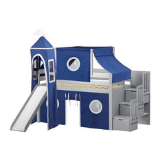 JACKPOT! Castle Twin Low Loft Gray Stairway Bed, Blue and White Tent & Slide