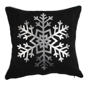Snowy Metallic Cushion Cover, Black and Silver