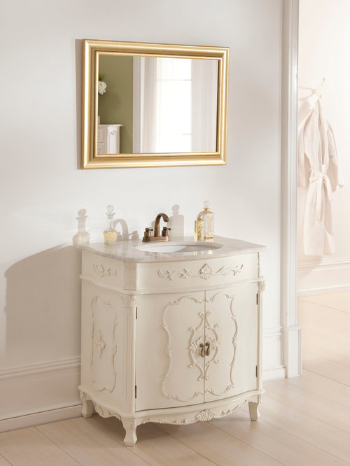 White Antique French Vanity Unit - Bathroom Vanities And Sink Consoles