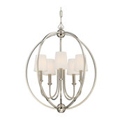 Sylvan 5-Light Chandelier, Polished Nickel With White Silk