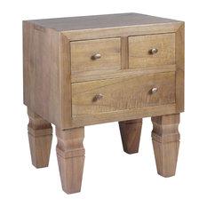 Kaki 3-Drawer Wooden Bedside Table