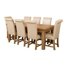 Richmond Oak Extending Table, 8 Washington Chairs, Ivory Leather