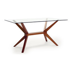 Inmod   Magna Glass Dining Table, Cherry   Dining Tables