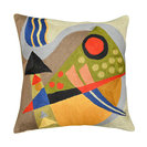 """Kandinsky Composition VII Cushion Cover Hand Embroidered 18"""" x 18"""""""