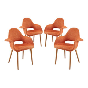 Modway EEI-1330-ORA Taupe Dining Armchair Set of 4, Orange