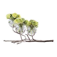 Twig Branch Metal Glass Bud Vase, Silver Triple Centerpiece Sculpture