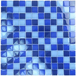 """artistryinmosaics - 12""""x12"""" Glass Tile Blends Crystal Series, Cobalt Blue Blend - Indulge yourself in the uncommon brilliance of glass mosaic tile - frost proof quality that will last a lifetime. Matching 90 degree glass trim tile available for most glass tile blends."""