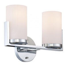 2-Lite Vanity Chrome/Frost Glass Shade E27 Type A 60Wx2