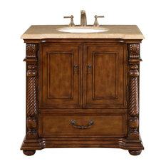 "36"" Transitional Single Sink Bathroom Vanity, Travertine Top, Distressed Finish"