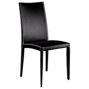 Aisha Leather Chairs, Set of 2, Black, Short