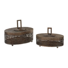 Agnese Decorative Box in Antiqued Gold With Light Gray