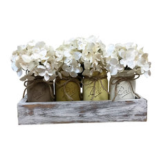 Earth Tone Mason Jars and Planter Box Centerpiece, 5 Piece Set