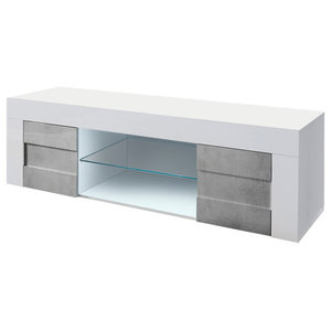 Easy II High Gloss TV Unit, Stone Imitation Fronts, 138 cm