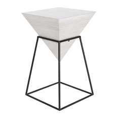 Modern Square Pyramid Block Wooden Accent Table White With Iron Frame Stand